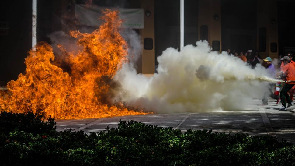 Download Free Stock HD Photo of Crew extinguishing fire Online