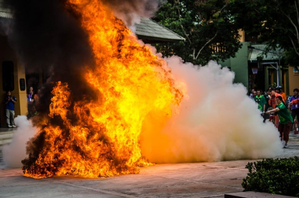 Download Free Stock Photo of Extinguishing a fire