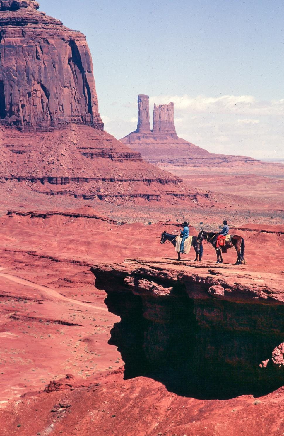 Download Free Stock Photo of Two horseman at John Ford Point