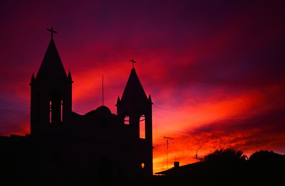 Download Free Stock HD Photo of Sunset Over Church Online