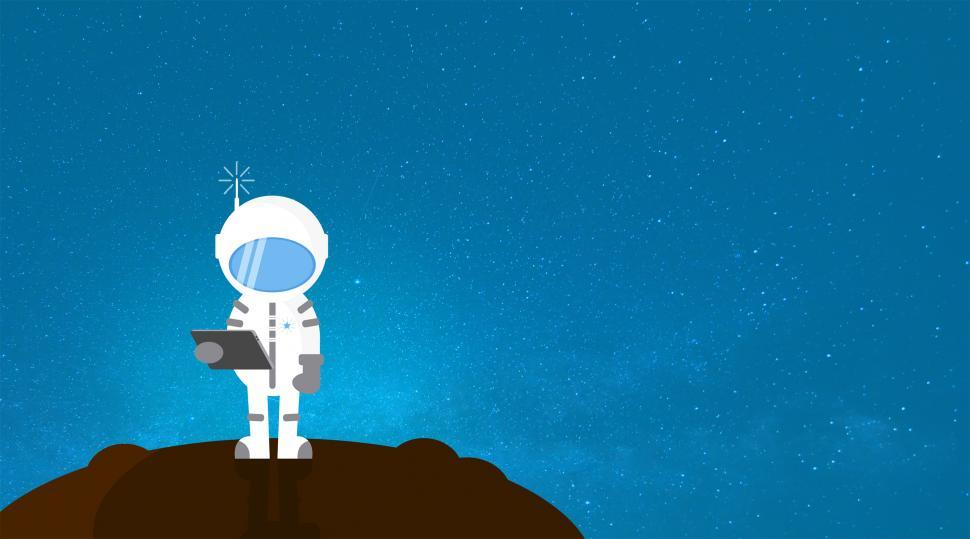 Download Free Stock HD Photo of Cartoon Astronaut Communicating - With Copyspace Online