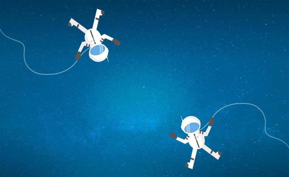Download Free Stock Photo of Couple of Cartoon Astronauts Drifting and Lost in Space - With C