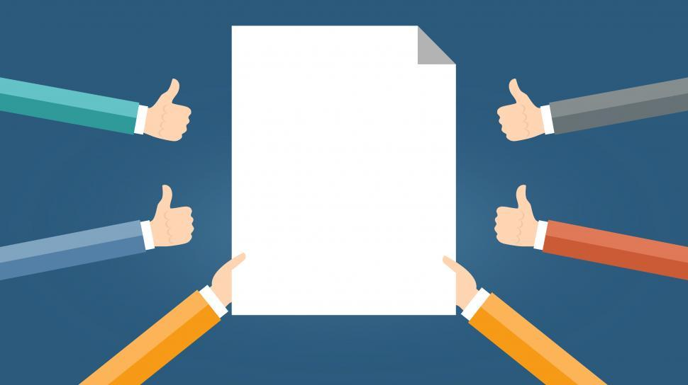 Download Free Stock Photo of Blank Space - Blank Page Surrounded by Thumbs Up - Agreement Con