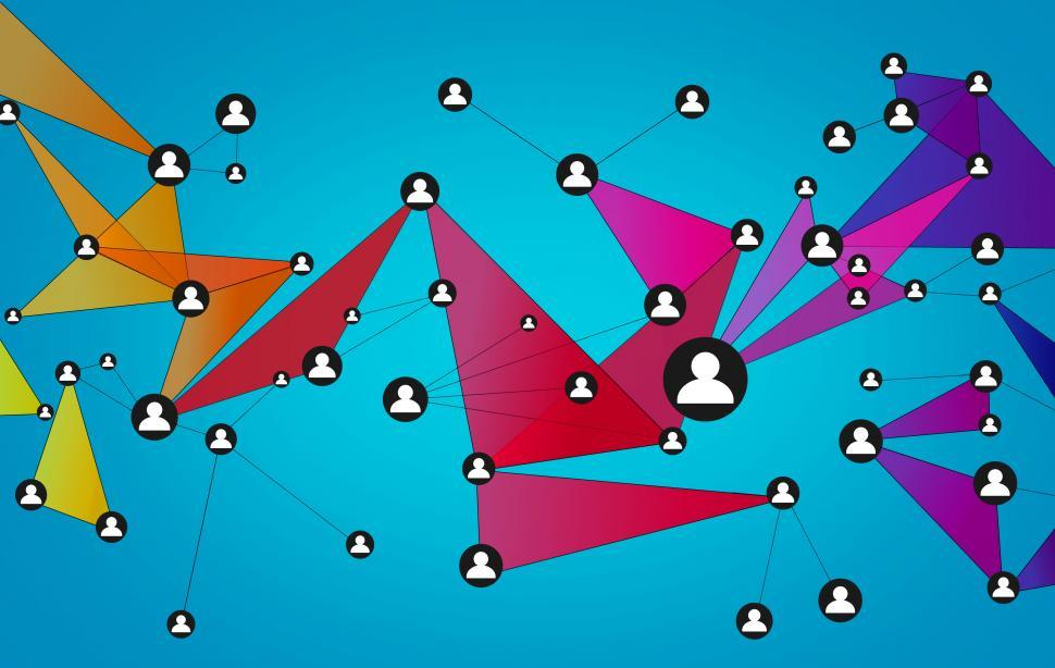 Download Free Stock Photo of Abstract Network of People - Social Networks - Blue Background