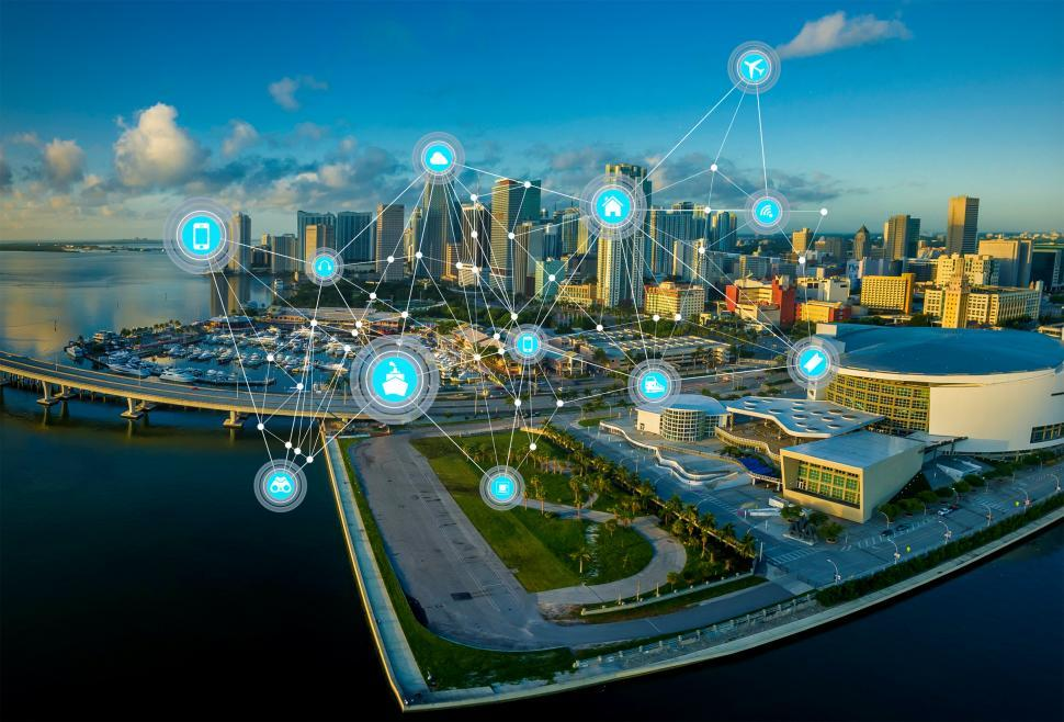 Download Free Stock HD Photo of Internet of Things - Communication Mesh over Modern Cityscape Online