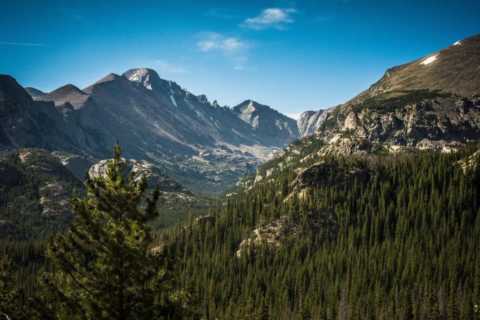 Download Free Stock Photo of Nature mountain range landscape alp valley mountains geological formation natural elevation snow sky peak travel scenic forest tourism clouds scenery trees rock alpine tree glacier outdoors high park alps