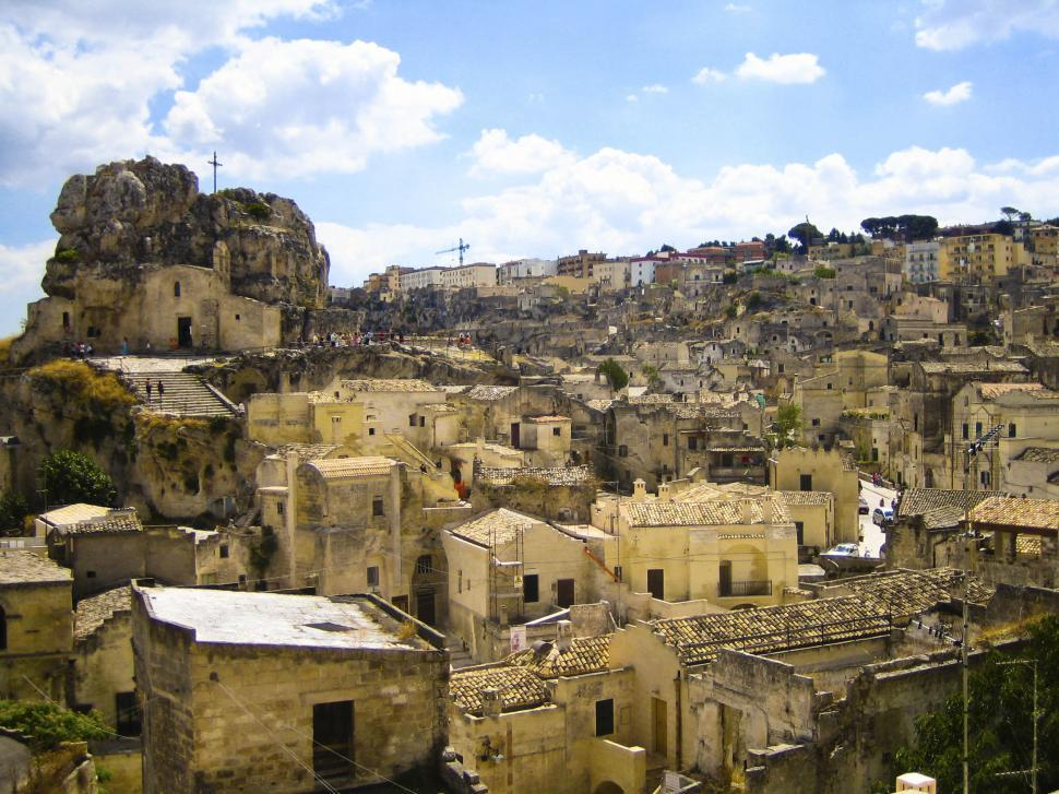 Download Free Stock Photo of Matera, Italy, dense buildings