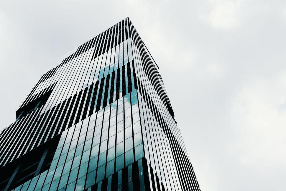 Download Free Stock Photo of skyscraper city building architecture office urban glass tall solar dish sky modern downtown tower business reflector high construction window corporate structure steel new financial reflection exterior buildings device district finance windows cityscape facade skyscrapers apartment skyline futuristic