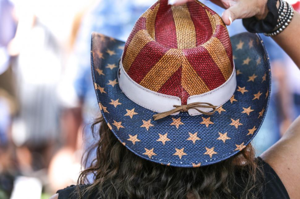 Download Free Stock Photo of Woman in Flag Hat