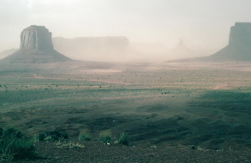 Download Free Stock Photo of Monument Valley haze and dust
