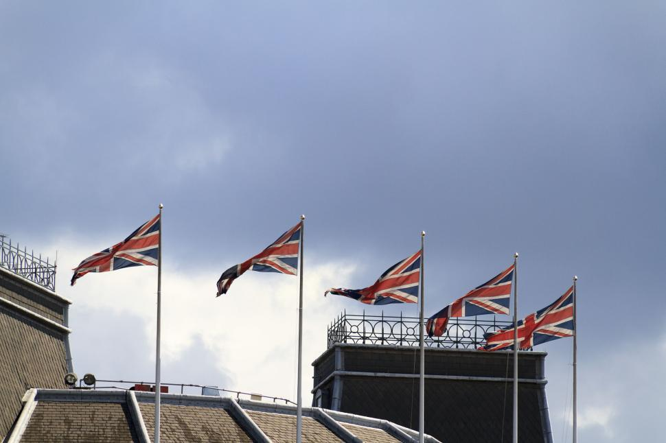 Download Free Stock Photo of Five union jack flags