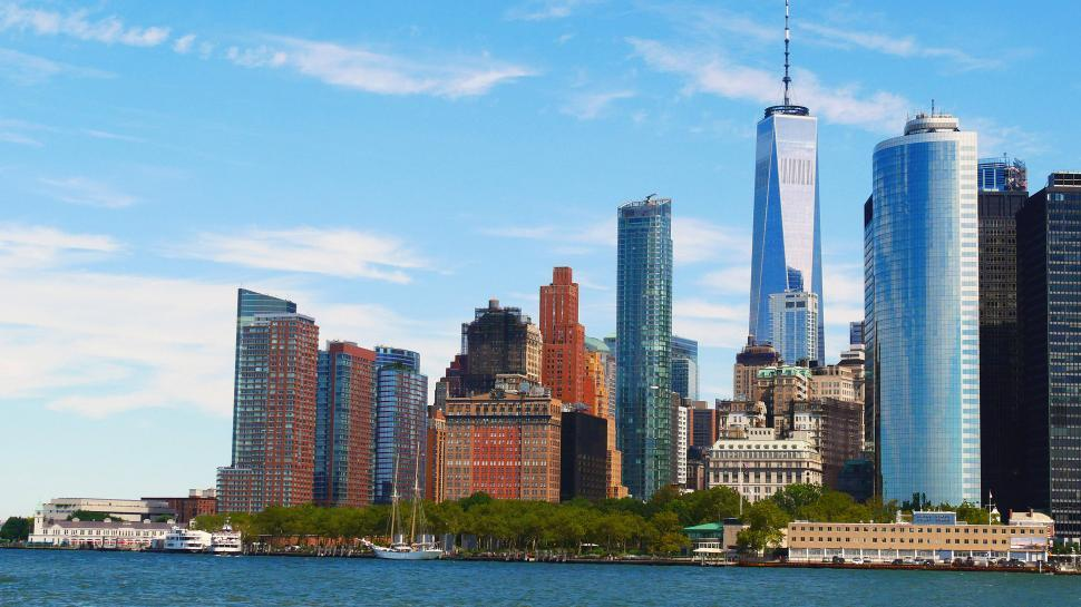 Download Free Stock Photo of Battery Park and One World Trade Center