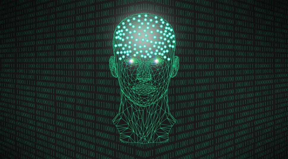 Download Free Stock Photo of Artificial Intelligence Concept With Binary Numbers