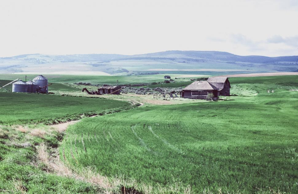 Download Free Stock Photo of Fields with farm houses