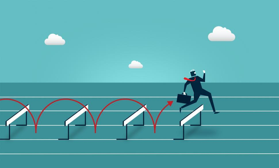 Download Free Stock HD Photo of Businessman Jumping Over Hurdles - Overcoming Barriers Online