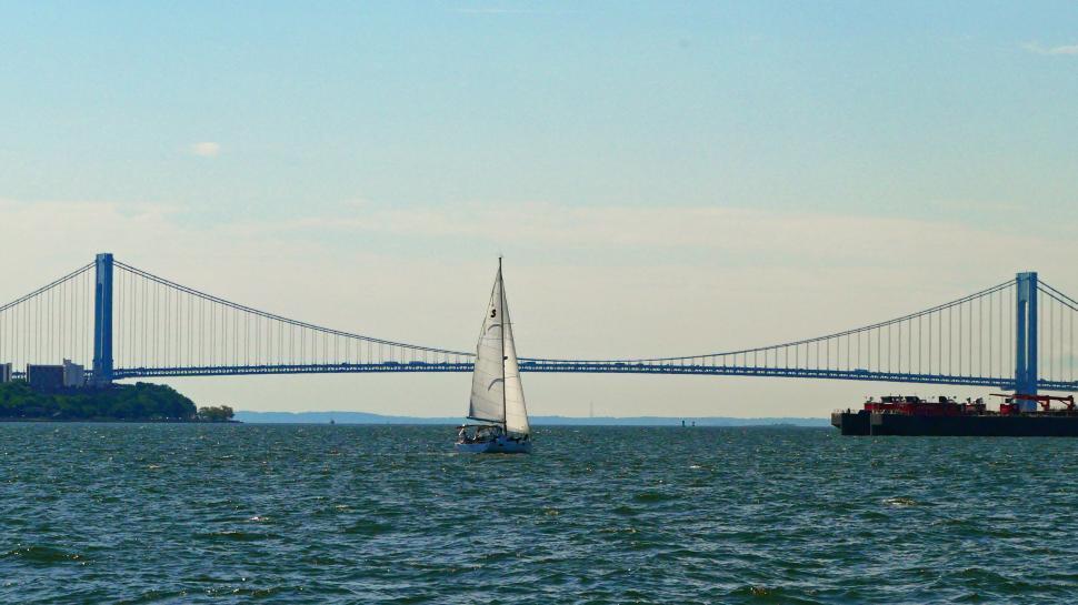 Download Free Stock Photo of Sailboat and Bridge