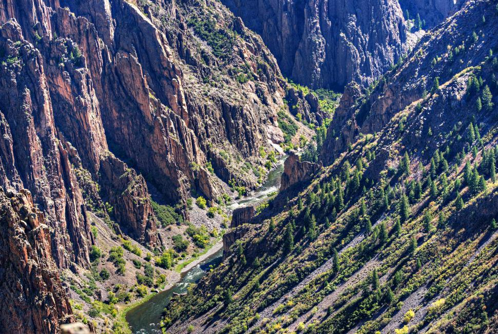 Download Free Stock Photo of Black Canyon of the Gunnison the River and the Cliffs