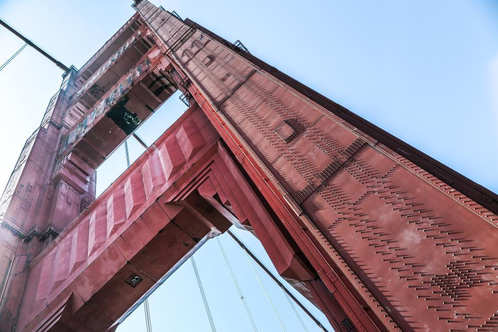 Download Free Stock Photo of Golden Gate Bridge Support