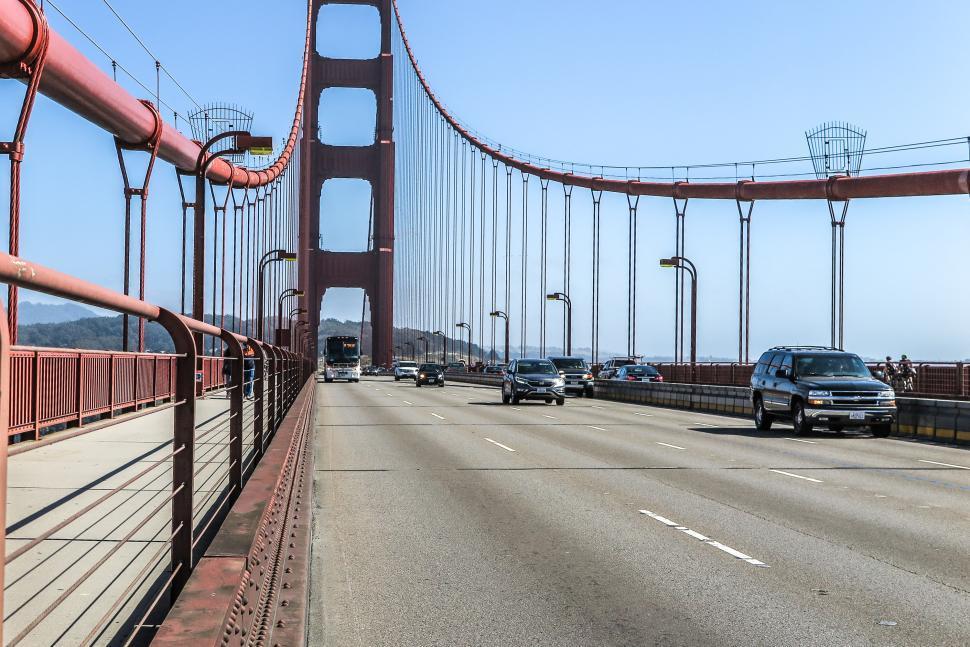 Download Free Stock HD Photo of Traffic on Golden Gate Bridge Online