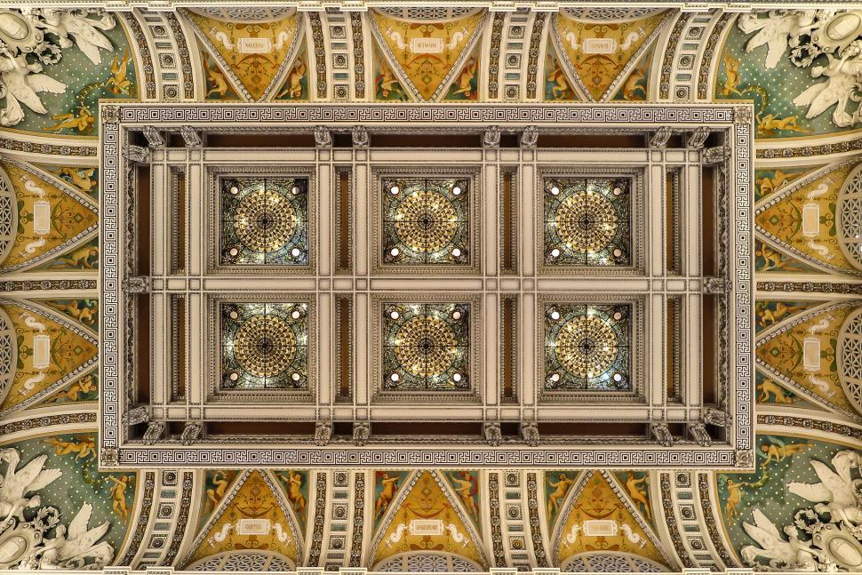 Download Free Stock Photo of Ceiling of the Library of Congress
