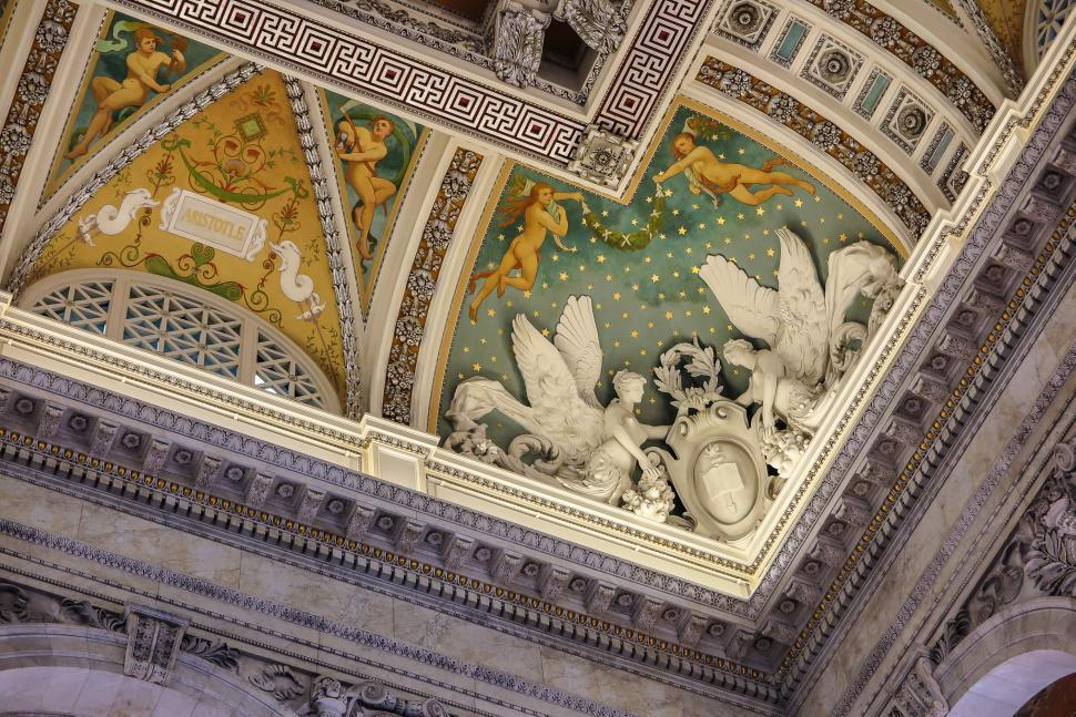 Download Free Stock HD Photo of Corner of Ceiling in Library of Congress Online