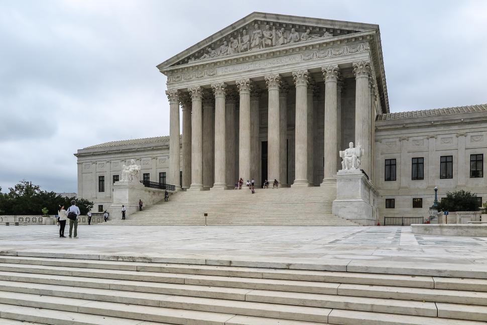Download Free Stock Photo of US Supreme Court Building with Tourists