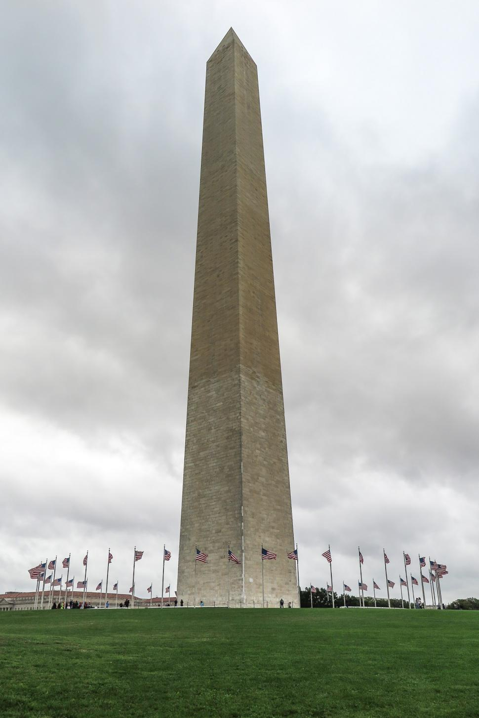 Download Free Stock Photo of Washington Monument wirh circle of US Flags