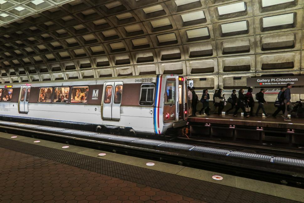 Download Free Stock Photo of Train in Washington DC Metro System