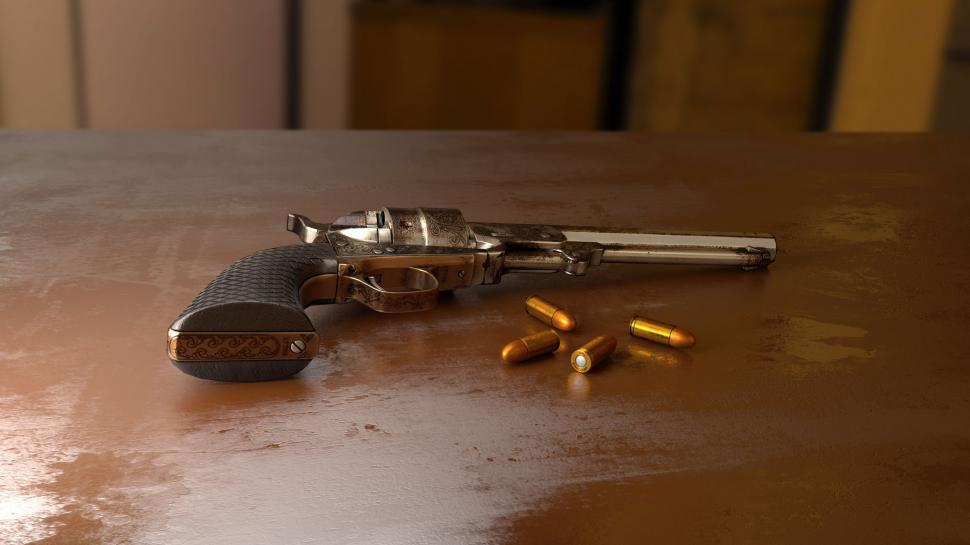 Download Free Stock Photo of Gun and Bullets