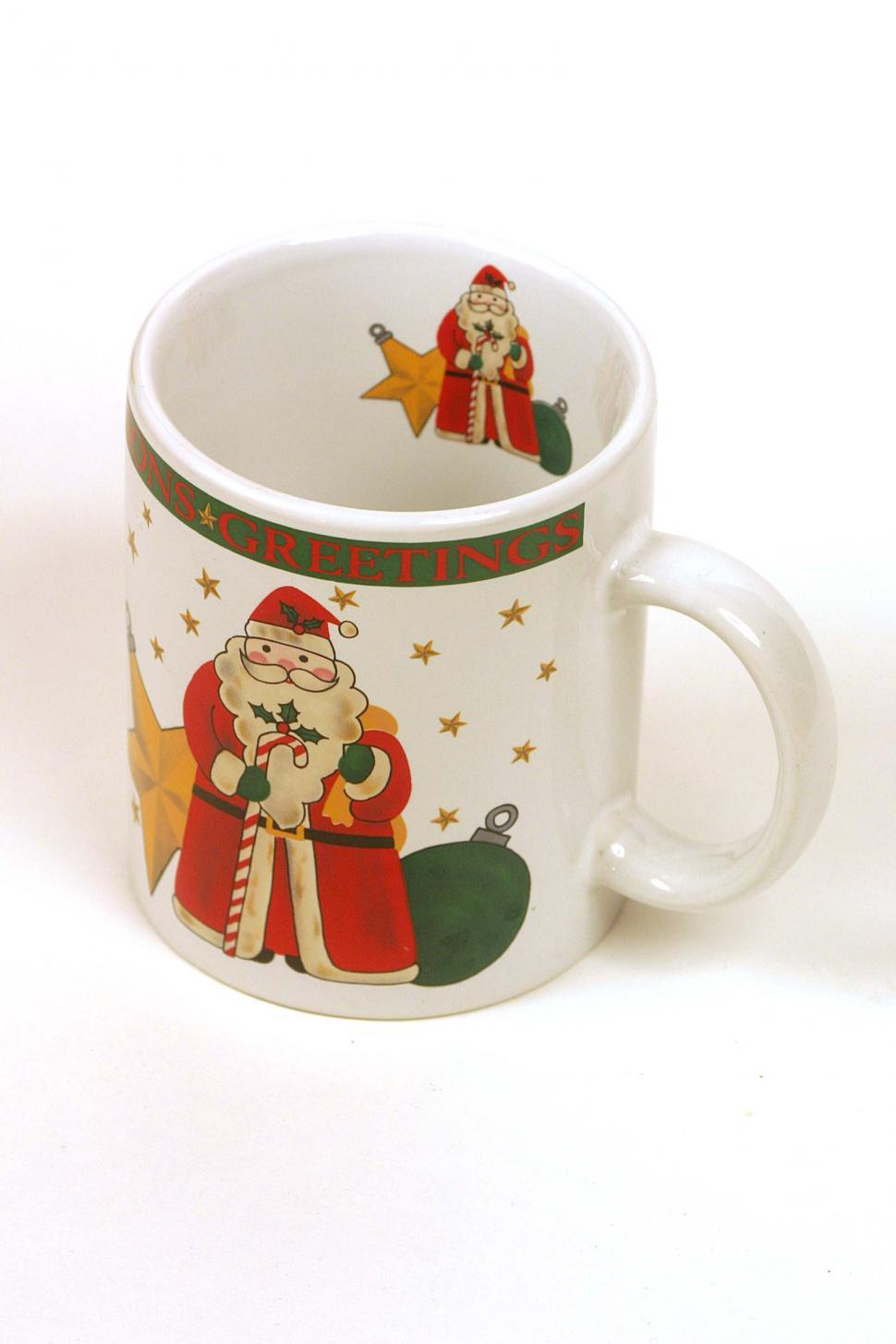 Download Free Stock Photo of christmas holiday santa claus mug cup decorative decoration seasons greetings coffee object