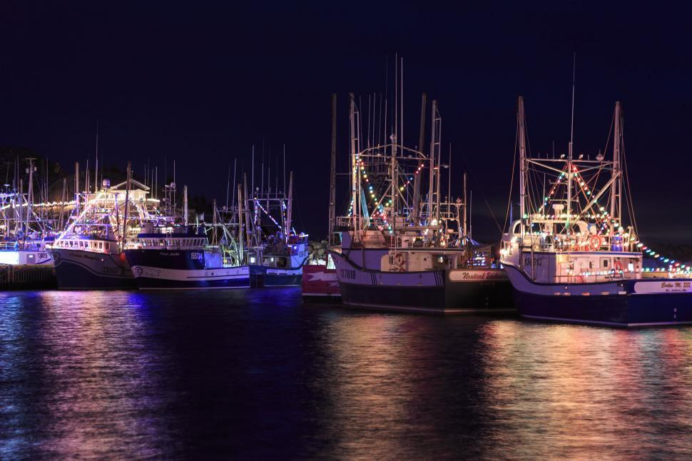 Download Free Stock Photo of Colorful lights on fishing vessel