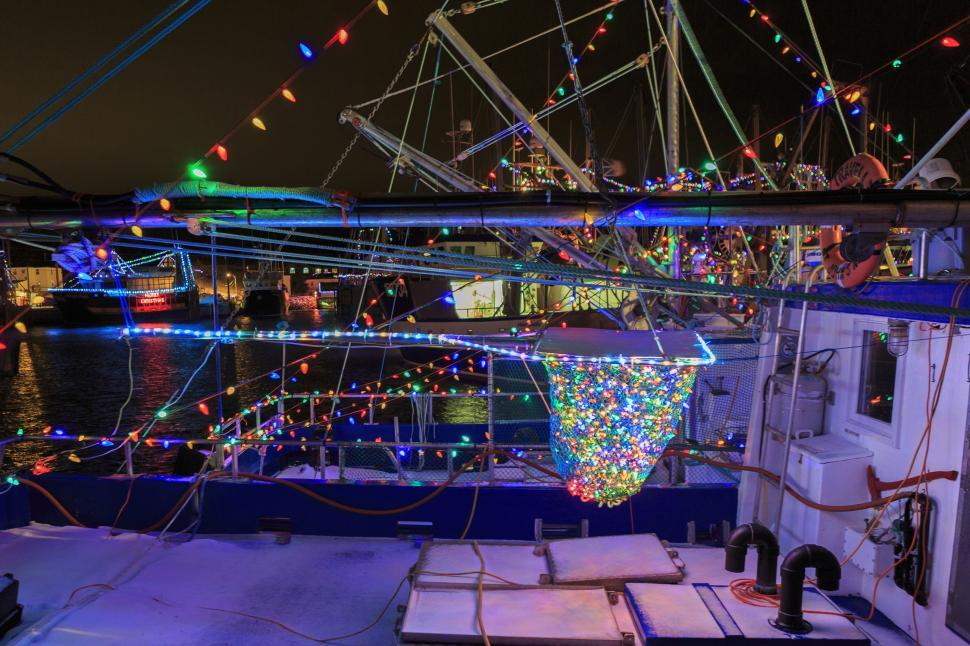 Download Free Stock Photo of Atlantic Canada fishing boats with Christmas lights