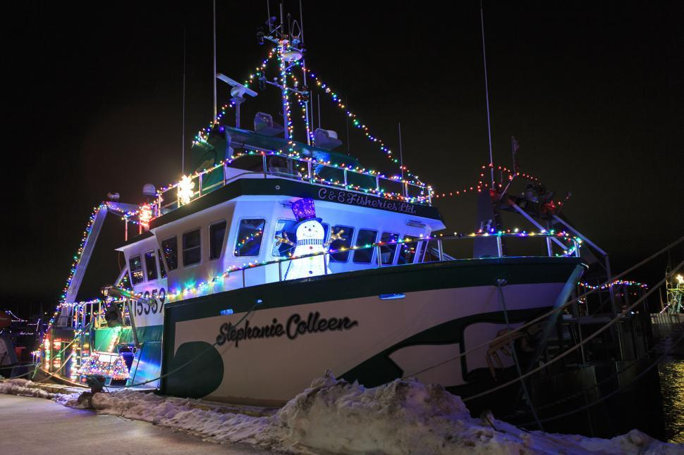 Download Free Stock Photo of Christmas lights on a fishing boat