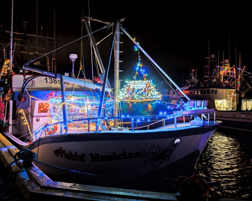 Download Free Stock Photo of Fishing vessel with Christmas lights