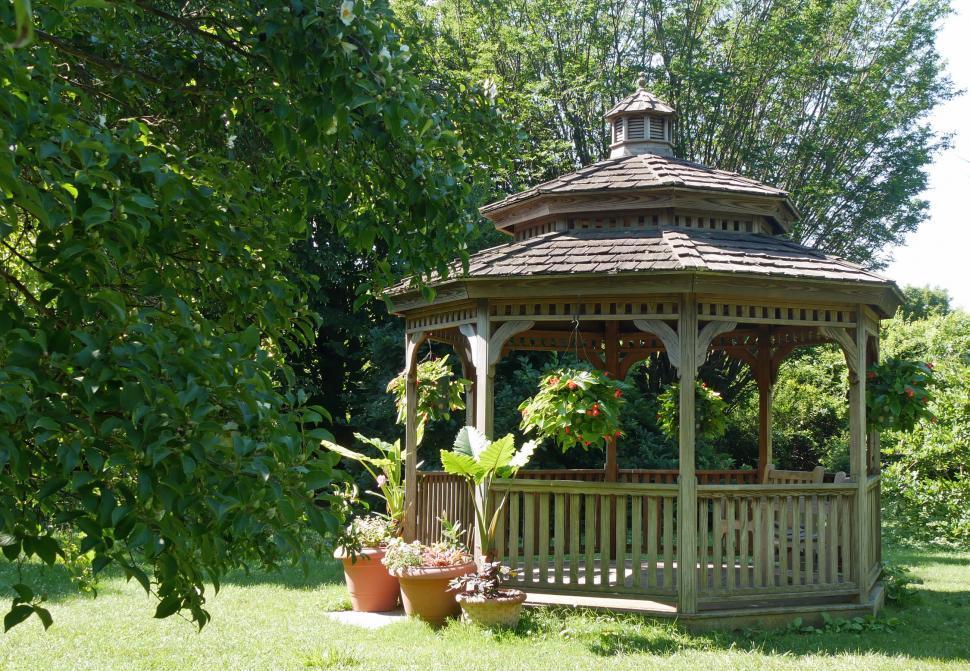 Download Free Stock HD Photo of Backyard Wooden Gazebo Online