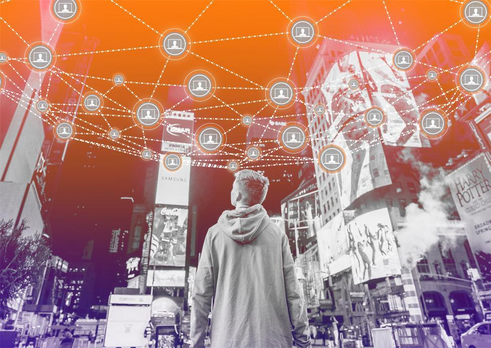 Download Free Stock Photo of Block Chain Network Concept Over Cityscape - Distributed Ledger