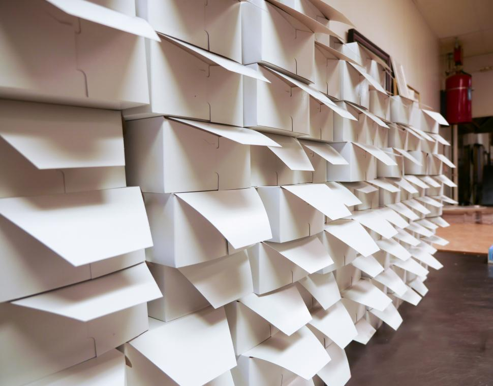 Download Free Stock HD Photo of Stacks of donut boxes Online