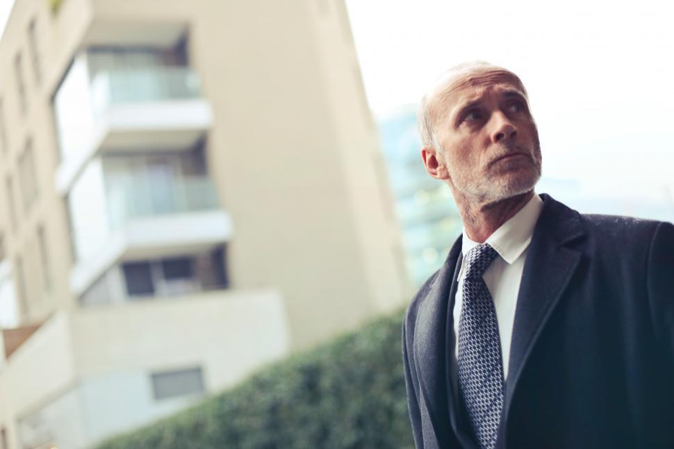Download Free Stock Photo of Old Aged Man Standing Outside a Building