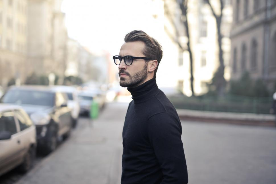 Download Free Stock Photo of Young Adult Man in black turtleneck top posing at the street