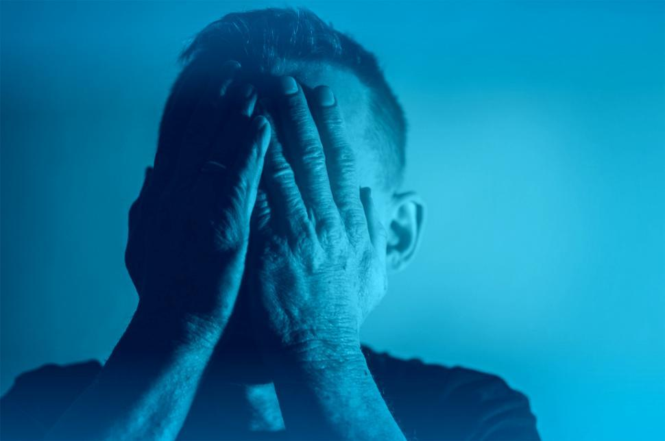 Download Free Stock Photo of Depression - Sadness - Despair - Man with Hands Covering Face -