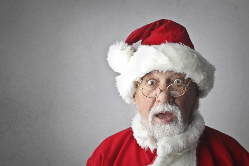 Download Free Stock HD Photo of Portrait Of Santa Claus in Spectacles Isolated On Grey Backgroun Online