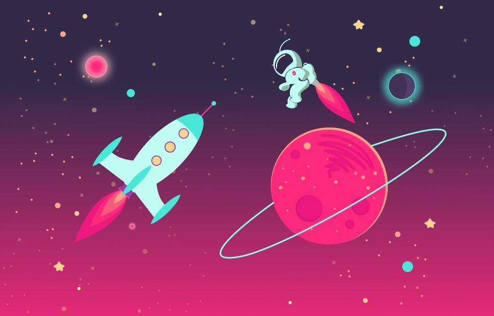 Download Free Stock HD Photo of Cartoon Astronaut and Rocket in Outer Space Online