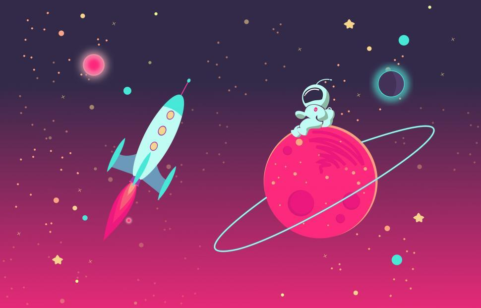 Download Free Stock HD Photo of Cartoon Astronaut on Planet and Rocket in Outer Space Online
