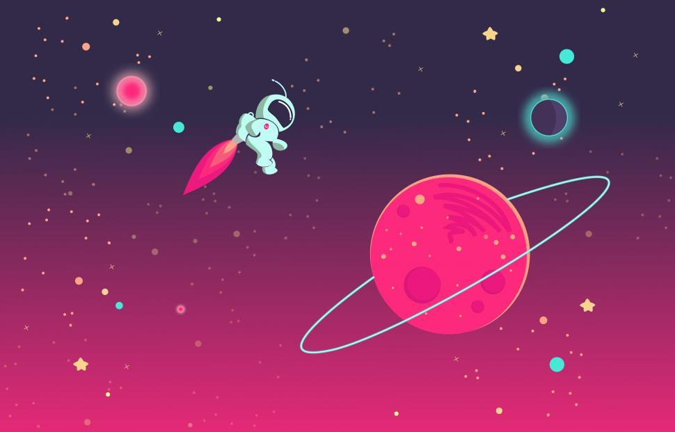 Download Free Stock Photo of Cartoon Astronaut Playing in Outer Space