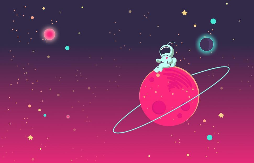 Download Free Stock Photo of Cartoon Astronaut Seated on Planet