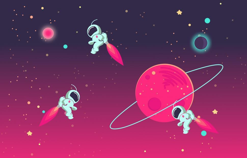 Download Free Stock Photo of Cartoon Astronauts Playing With Each Other in Outer Space