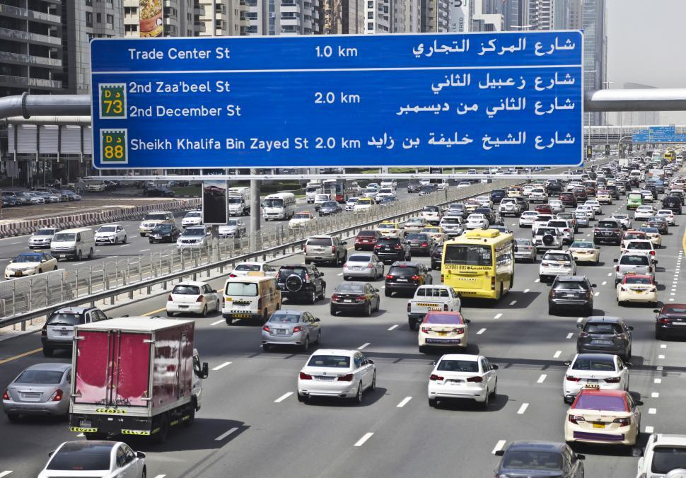 Download Free Stock Photo of Traffic in Dubai,United Arab Emirates