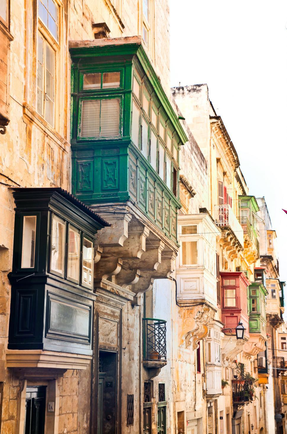 Download Free Stock HD Photo of View of Bow Windows in Valletta, Malta Online