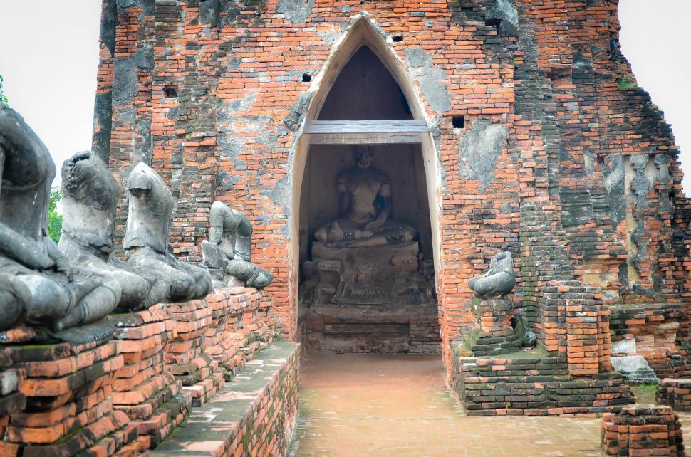 Download Free Stock HD Photo of Masonry Temple with Buddha Statues  Online