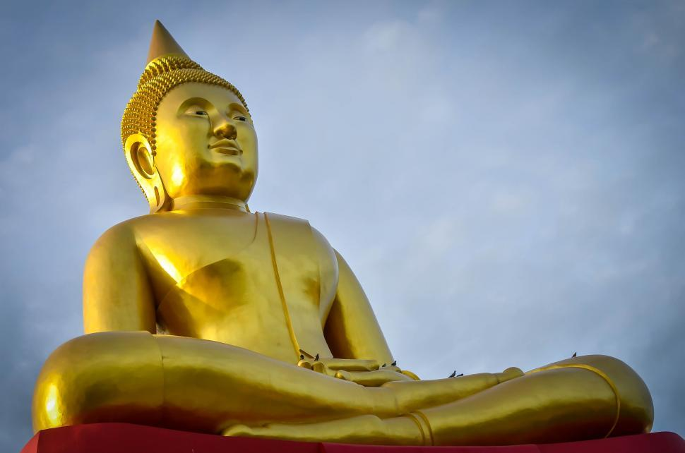 Download Free Stock Photo of large golden buddha Statue